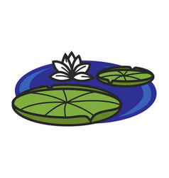 Pond with water lily vector