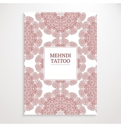 Poster template mehndi design vector image