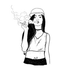 rap smoking girl vector image