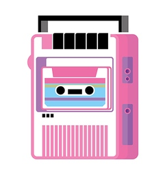 Retro music cassette player vector image vector image