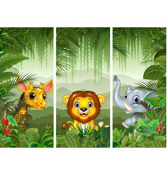 set of three african animals vector image vector image