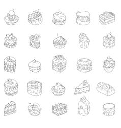 Set with different kinds of dessert Contour vector image vector image