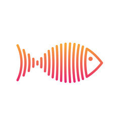 stylized gradient fish is lines logo vector image vector image