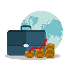 Suitcase coins profit and money design vector
