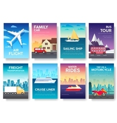 Variations transport of travel vacation tour guide vector
