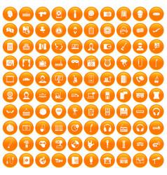 100 microphone icons set orange vector
