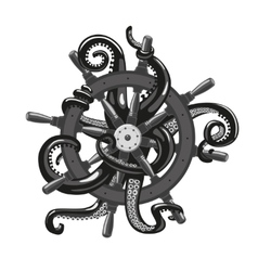 Octopus holding a helm tattoo style vector