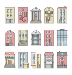 City building skyline constructor set vector