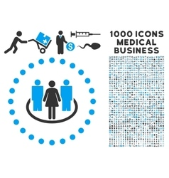 Society icon with 1000 medical business symbols vector