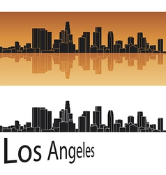 Los angeles skyline in orange background vector