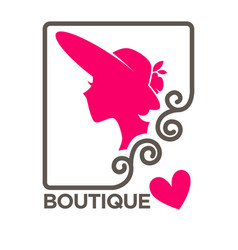 Woman in hat with broad brims profile pink vector