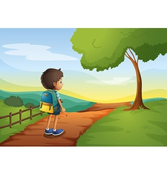 A boy walking while carrying a bag vector