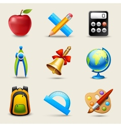 Realistic School Icons Set vector image