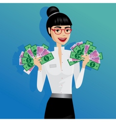 Business woman holding lot of money vector
