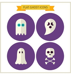 Flat spirit ghost website icons set vector