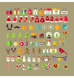 Big flat style collection of winter holidays vector