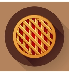 Sweet apple pie icon Flat designed style vector image