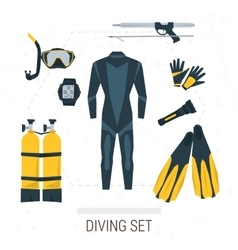 Icons set of diving items vector
