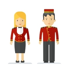 Profession hotel service man and woman vector