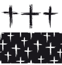 Seamless pattern with grunge crosses vector