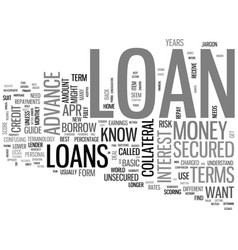 A guide to basic loan terms text word cloud vector