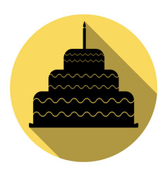Cake with candle sign flat black icon vector