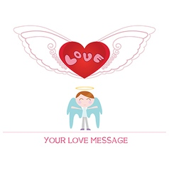 Cartoon angel boy in love vector