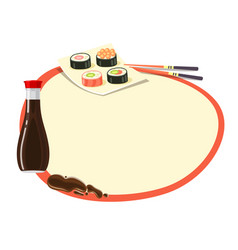Circle with red frame with soy sauce and sushi vector