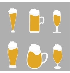 Different types of beer glasses with beer spilling vector