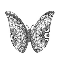 drawing zentangle for butterfly adult coloring vector image