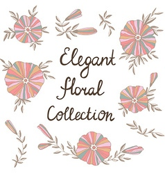 Elegant flowers in Cute floral elements Vintage vector image vector image