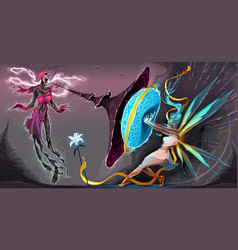 Fear and courage battle in the astral realms vector