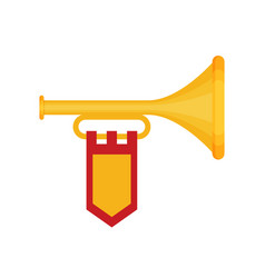 flat trumpet with flag icon vector image