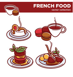French food collection of exquisite tasty vector