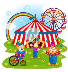 funny clowns and circus vector image