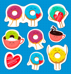 Funny donut characters stickers in leisure vector