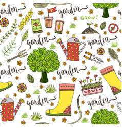 Garden pattern with seed packets tools tree and vector