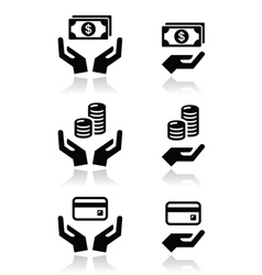 Hands with money icons set vector