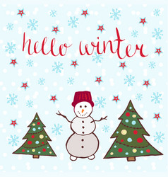 Hello winter card dancing snowman with new year vector