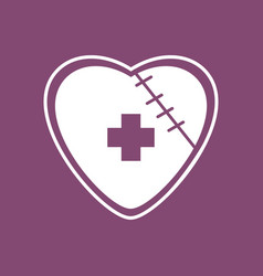 Icon sewn heart with cross vector