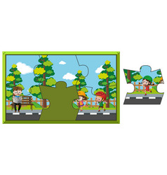 Jigsaw puzzle game with kids in park vector
