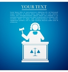 Judge with gavel flat icon on blue background vector