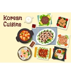 Korean cuisine traditional bbq dishes icon vector