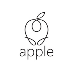 line craft apple vector image vector image