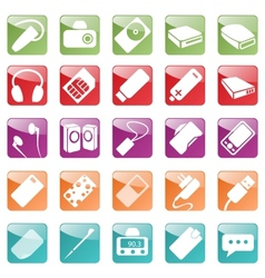 Phone and Computer Accessories Icon Set vector image vector image