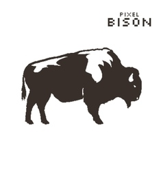 Pixel art bison on a white background vector