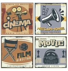 Retro cinema labels set vector