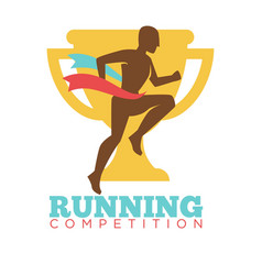 Running competition man on background of golden vector