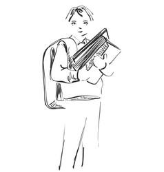 school children boy hand drawn vector image vector image