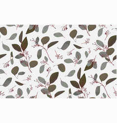 Seamless pattern with eucalyptus tree branches vector